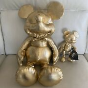 Disney Store 90th Anniversary Mickey Mouse Gold Plush Large And Small Set