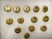 1890's Baseball Player Position Pinback Pin Gold Background Set Of 13 Rare