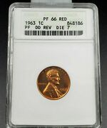 1963 P Lincoln Memorial Cent Proof Variety Anacs Pf66 Red Ddo 007 Double Die Obv