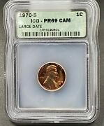 1970 S Lincoln Memorial Cent Penny Coin Icg Pr69 Cameo Gem Proof Neat Toning