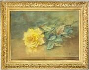 Mary Austin Oliver Single Yellow Rose Watercolor Painting Framed18x14 1914