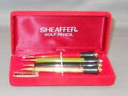 Sheaffer Vintage Pencil Golf Set In Box--one Is Gold Filled