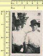 047 1950's Two Men With Hats Guys Abstract Portrait Pals Vintage Photo Original