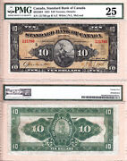 1924 10 Standard Bank Of Canada Rare Large Note Pmg Vf25 Ch695-20-04