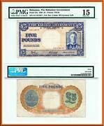 1936 Bahamas Govand039t King George Vi Andpound5 Note V Rare P-12a