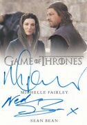 Game Of Thrones S8 Dual Autograph - Michelle Fairley And Sean Bean Inscribed 2