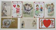 Lot Of 8 Valentine Embossed Antique Postcards W/ Boys And Girls