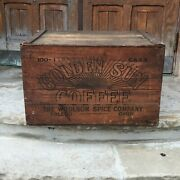 Antq Golden Sun Coffee Large Wooden Shipping Crate Toledo Oh Woolson/lion Coffee