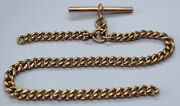 Vintage 9ct Yellow Gold Curb Link Albert Chain