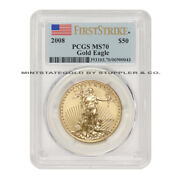 2008 50 Eagle Pcgs Ms70 First Strike American Gold Bullion 1ounce Coin 22-kt