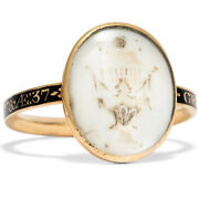 Antique Memorial Ring, Dated 1778 Gold Email Mourning Miniature, Georgian