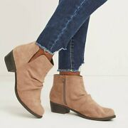 Lane Bryant 10 12 Wide Boots Ankle Booties Brown/tan Faux Suede Scrunch Women