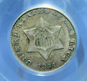 1851-o Three Cent 3andcent Silver 3cs Very Scarce Date Pcgs Au50 Sft102
