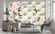 Wallpaper Roses And Butterflies On A Beige Background Wall Mural