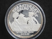 1988 Norman Rockwell After The Prom 2 Troy Oz. Silver Round D8204