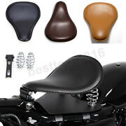 Black Leather Motorcycle Solo Seat Spring Bracket Kit For Softail Springer Fxstc