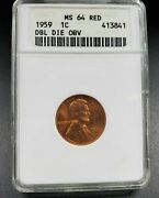 1959 P Lincoln Memorial Cent Penny Coin Variety Anacs Ms64 Rd Ddo 001 Fs-101