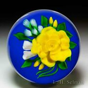Victor Trabucco 1987 Yellow Rose Bouquet Glass Paperweight