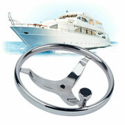 Stainless Steel Knurling 13-1/2 Steering Wheel For Boat With 1/2 Nut And Knob