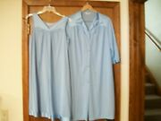 Ieuc Vanity Fair Vintage Night Gown Matching Robe Set Size Small Baby Blue