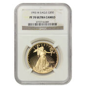 1993-w 50 American Gold Eagle Ngc Pf70ucam Proof Ultra Cameo 1oz Modern Coin