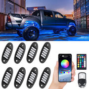 8x Led Rock Light App/remote Wireless Bluetooth Music Rgb Color Accent Under Car