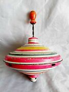 Rare Vintage 1950's Hand Painted Tin Spinning Top Toy Made In Germany Wood Knob
