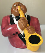 Euc Clay Art 1996 The Jazz Player Cookie Jar African American Saxophone Player