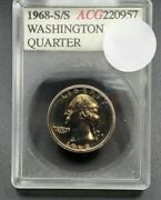 1968 S S/s Washington Quarter Proof Coin Accugrade Gem Proof Rpm 002 Variety