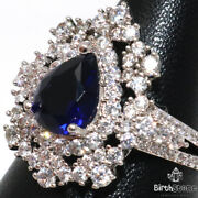 Antique Pear Blue Sapphire Ring Women Engagement Anniversary Jewelry Gift