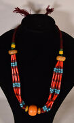 Moroccan Necklace African Trade Beads Large Amber Color