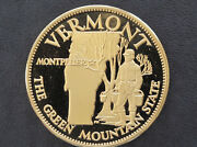 Franklin Mint Vermont Solid Bronze Proof Medal States Of The Union D8939