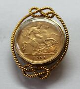 Vintage 9ct Gold Brooch With A 1905 Half Sovereign