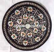 18and039and039 Black Adorable Marble Plate Abalone Floral Inlay Art Collectible Decor Gift