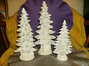 54044 Frosted Pine Trees Set Of 3 Figurines New 8 10 11 High Home Interiors