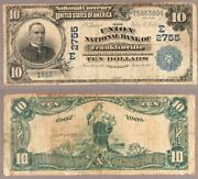 Franklinville Ny 10 1902 Db National Bank Note Ch 2755 Union Nb Very Good