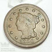 1850 Braided Hair Large Cent One Cent 1c Vg Condition Cb1j