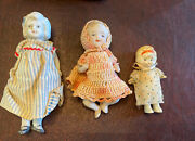 Antique Vintage China Bisque Painted Jointed Penny Frozen Baby Dolls Lot