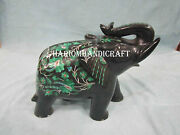 6 Black Marble Elephant Statue Malachite Inlay Marquetry Floral Art Gifts H2526