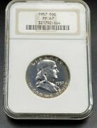 1957 P Franklin Silver Half Dollar Coin Ngc Pf67 Gem Proof Ofh Old Fat Holder