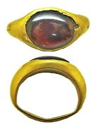 3rd - 1st Century Bc Superb Ancient Hellenistic Gold And Garnet Finger Ring