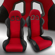 2 X Reclinable Red Pineapple Fabric/pvc Leather Left/right Racing Bucket Seats