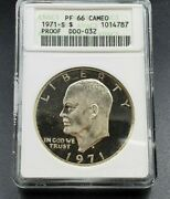 1971 S 1 Ike Eisenhower Silver Dollar Coin Anacs Pf66 Cameo Variety Ddo 032