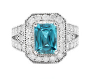 5.95 Carats Natural Blue Zircon And Diamond 14k Solid White Gold Ring