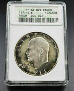 1971 S 1 Ike Eisenhower Silver Coin Dollar Anacs Pf64 Hvy Cameo Variety Ddo 042