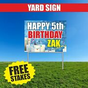 Happy Birthday Yard Sign Advertising Your Date Name Congrats Metal Stake 18 X 24