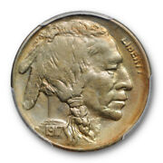 1917 S 5c 2 Feathers Buffalo Head Nickel Pcgs Ms 62 Uncirculated Two Pop 2