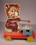 Vintage Fisher Price Wooden Pull Toy 1949-1950 Teddy Zilo Metal Chime Toy