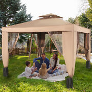 Vevor 10x10' Outdoor 2 Layer Rooftop Folding Portable Gazebo W/netting For Patio