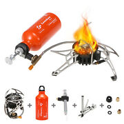Outdoor Portable Camping Stove Set Picnic Oil Alcohol Burner W/gas Fuel Bottle